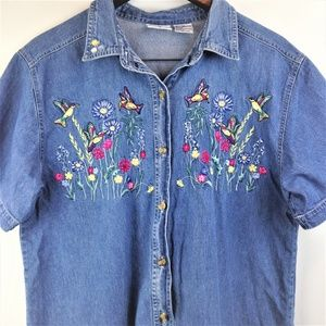 Bobbie Brooks Blue Embroidered Hummingbirds Top L